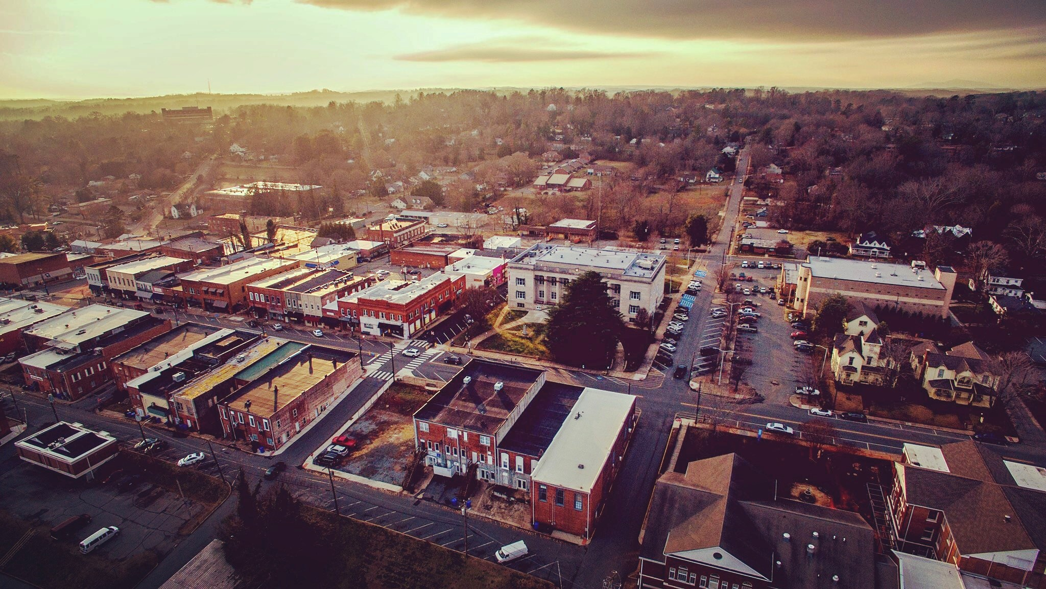 Arial photo of downtown Rutherfordton at sunset
